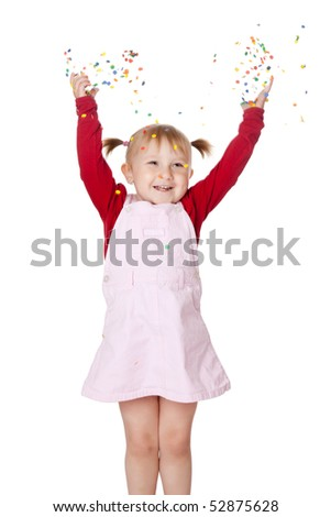 happy little girl with confetti - stock photo