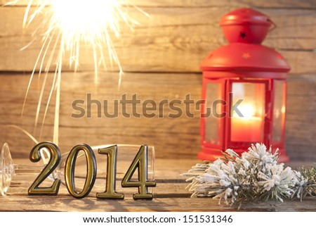 2014 happy new year abstract background sign with sparklers - stock photo