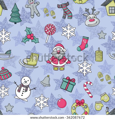 Happy New Year and Merry Christmas pattern with Santa Claus,Christmas tree - stock photo