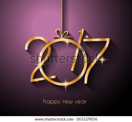 2017 Happy New Year Background for your Flyers and Greetings Card. Ideal to use for parties invitation, Dinner invitation, Christmas Meeting events and so on. - stock photo