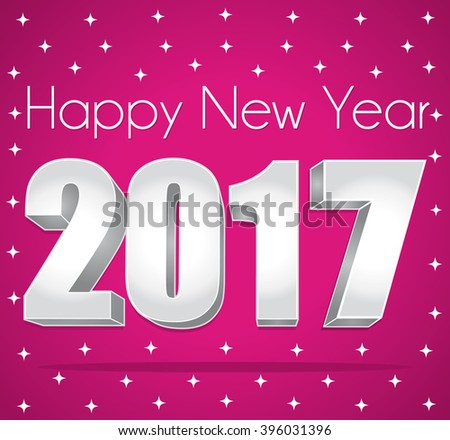 2017 Happy New Year. Best wishes. Pink and silver starry greeting card. - stock photo