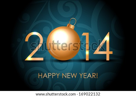 2014 Happy New Year blue background with gold christmas bauble - stock photo