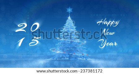 'Happy New Year - 2015' Festive Design. New Year's graphic composition, based on 3D-rendered scene - stock photo