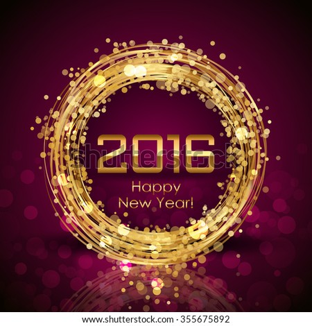 2016 Happy New Year glowing background - stock photo