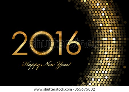 2016 Happy New Year golden glowing - stock photo