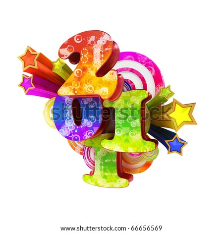 2011 Happy New Year greeting card - stock photo