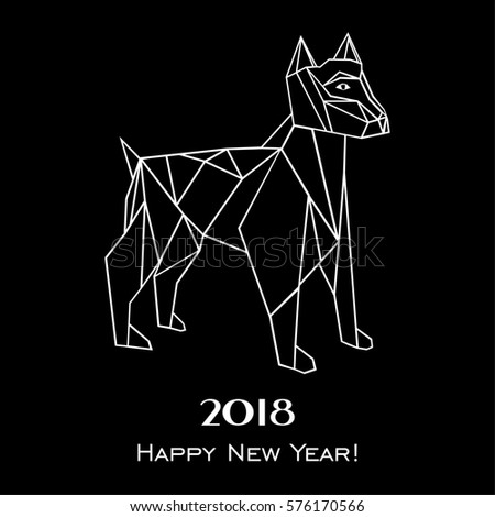 2018 Happy New Year. Greeting card. Celebration black background with dog and place for your text. Illustration