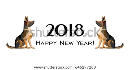 2018 happy new year greeting card stock illustration 646297288 2018 happy new year greeting card celebration white background with dog german shepherd and place m4hsunfo