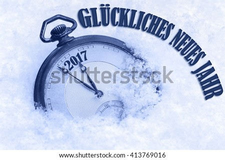 2017 Happy New Year greeting in German language, Gluckliches neues Jahr text, 2017 new year greeting card  - stock photo