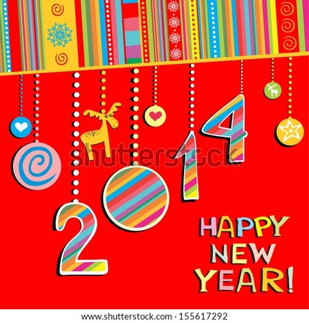 2014 Happy New Year greeting red card or background. illustration  - stock photo