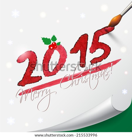 2015 Happy New Year hand lettering on  white background. - stock photo