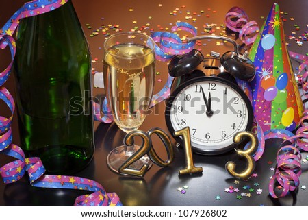 2013 happy new year with clock and champagne party - stock photo