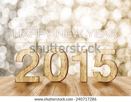 """Happy New Year"" word and 2015 year wood number in perspective room with sparkling bokeh wall and wooden plank floor - stock photo"