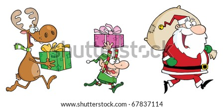 Happy's Santa Claus,Elf and Reindeer Runs With Gifts - stock photo