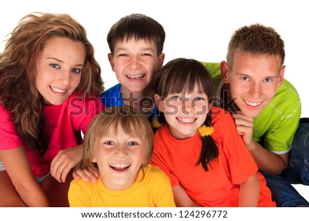 Happy sisters with brothers - stock photo