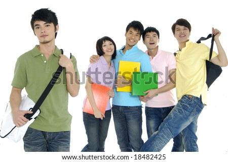 5 happy university students over a white background focus on man in green - stock photo