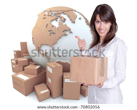 Happy young woman holding a box with a transportation related background - stock photo