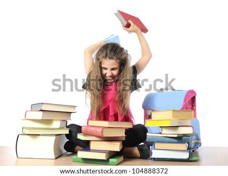 hard studying - stock photo