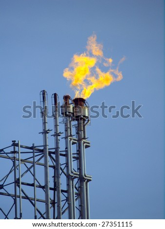 """Harmless"" by-product are rendered harmless by flaring at  petrochemical processing facility near Edmonton, Alberta - stock photo"