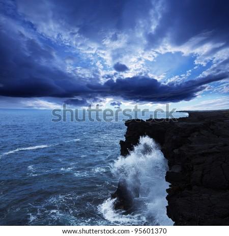 Hawaiian coast - stock photo
