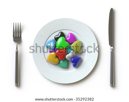 he can be eaten. In my portfolio there is collection of pictures of tablewares and heart. You only enter IN a SEARCH the Photographer Name: PAVEL IGNATOV and keyword: TABLEWARE or HEART - stock photo