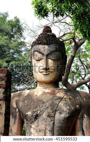 Head shot of buddha statue Thailand. - stock photo