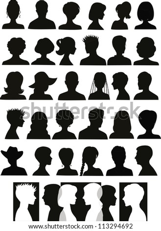 30 head silhouettes and a banner with crossing profiles - stock photo