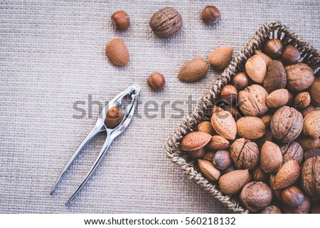 healthy almonds, hazelnuts, walnuts,  along with the nuts cracker
