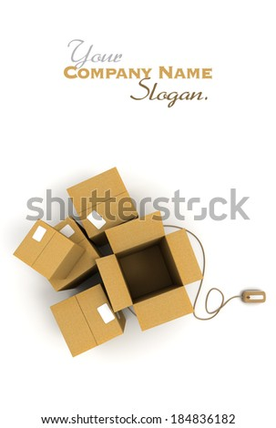 Heap of cardboard boxes, one of them open connected to a computer mouse  - stock photo