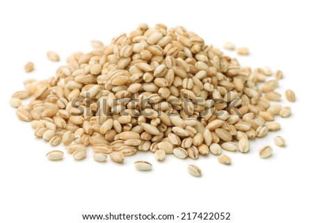 Heap of pearl barley isolated on white - stock photo