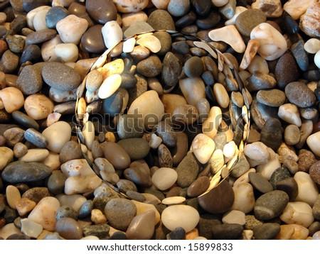 Heap of the yellow stones textures macro - stock photo