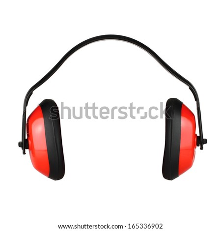 Hearing protection on white background - stock photo