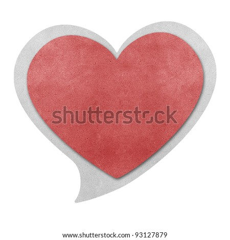 Heart shape  bubble talk  recycled papercraft - stock photo