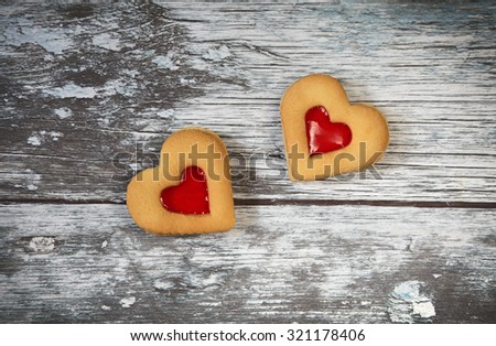heart shaped cookies  for valentine's day on wooden background - stock photo
