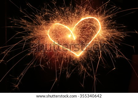 heart sparkler  - stock photo