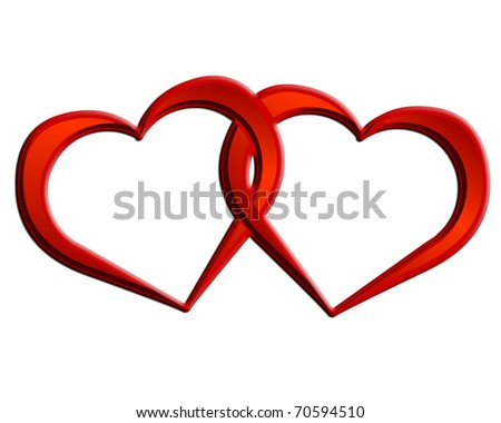 2 Hearts 1 Love. Two hearts together. - stock photo