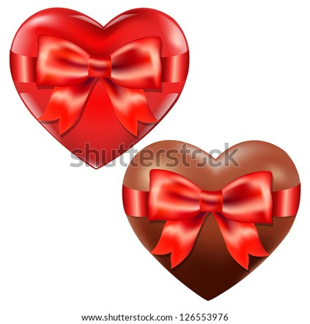 2 Hearts With Red Bow, Isolated On White Background