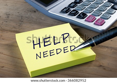 """""""HELP NEEDED"""" written on yellow sticky post-it note. Business, technology, internet and networking concept. - stock photo"""