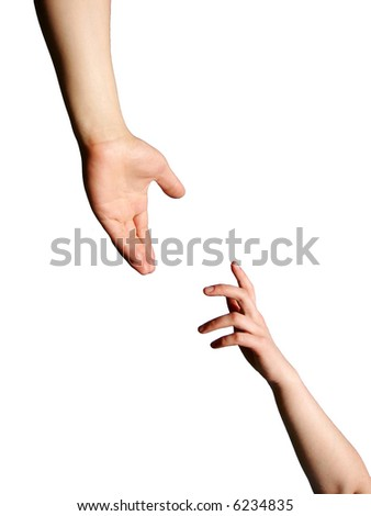 Helping Hand with the white Background - stock photo