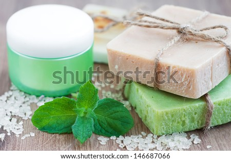 Herbal Soap with Mint and Sea Salt - stock photo