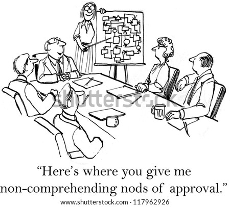 """""""Here's where you give me non-comprehending nods of approval."""" - stock photo"""