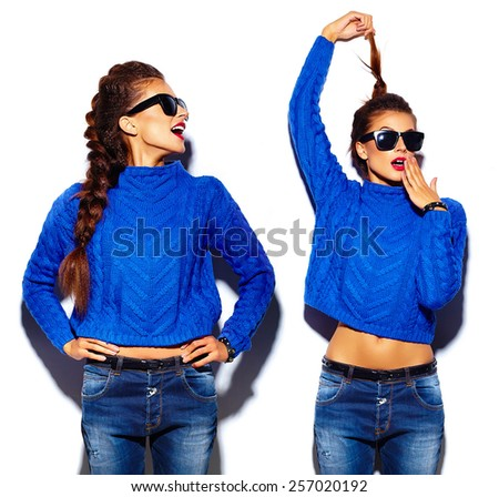 High fashion look.glamor stylish funny beautiful young woman models laughing with red lips in blue sweater hipster cloth - stock photo