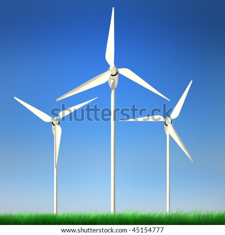 High quality image of wind turbine standing in a grass field against clean blue sky with clipping path