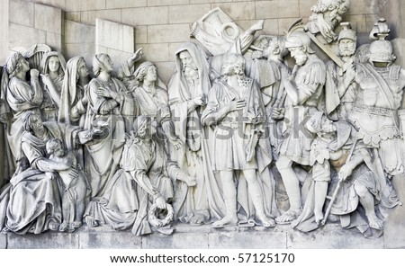 High relief with the Cathedral of Christ the Savior, Visit St. Sergius Radonezhsky Dmitry Donskoy. Sculptor A. Loganovsky, 1847-1849 Gg. - stock photo