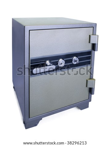 high security safe with two keys isolated on white - stock photo