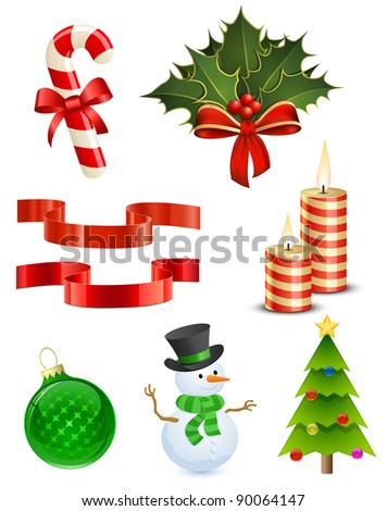 8 Highly detailed Christmas icons - stock photo