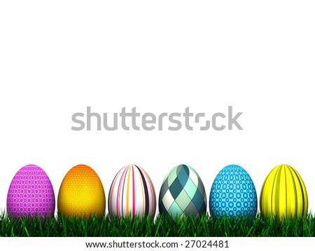 6 highly detailed Easter Eggs in the grass isolated on a white background. See more variations in my Gallery