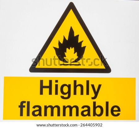 """Highly Flammable "" danger sign  - stock photo"