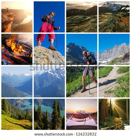 hiking scene collage - stock photo