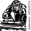 ?himpanzees and vinyl record. raster. - stock vector